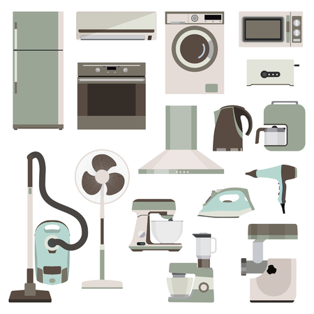 Set of flat household appliances. Collection home of devices. Vector eps10 Vektorové ilustrace
