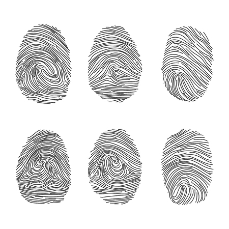 theft proof: Set of fingerprints icons, id security identity. Vector illustration eps10