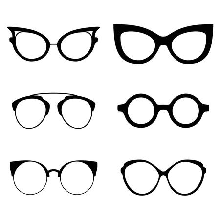 cat's eye glasses: Collection of various glasses. To be worn by women, men and children. Eye glasses set. Vector illustration eps10