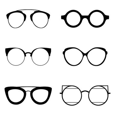 cat's eye glasses: Set of various glasses. Stylish sunglasses for women, men and children. Eye glasses collection. Vector illustration eps10 Illustration
