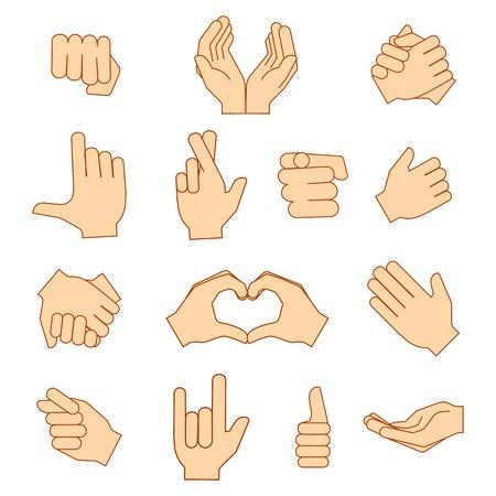 Lege handen houden beschermen geef gebaren iconen set geïsoleerd op wit. Vector illustratie eps10 Stock Illustratie