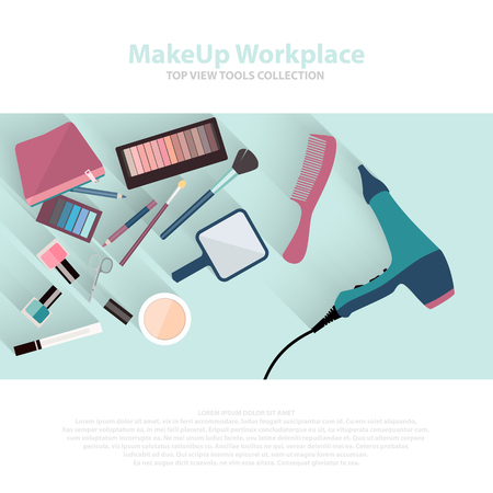 make up artist: Beauty and makeup cosmetics pattern with make up artist objects lipstick, nail, perfumes, eye shadows, brushes, mascara. Workspace top view flat icons. Vector beauty background eps10. Illustration