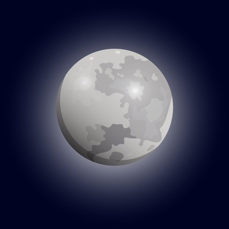 astrophoto: Full moon seen with a telescope. Luna flat icon. Vector eps10 Illustration