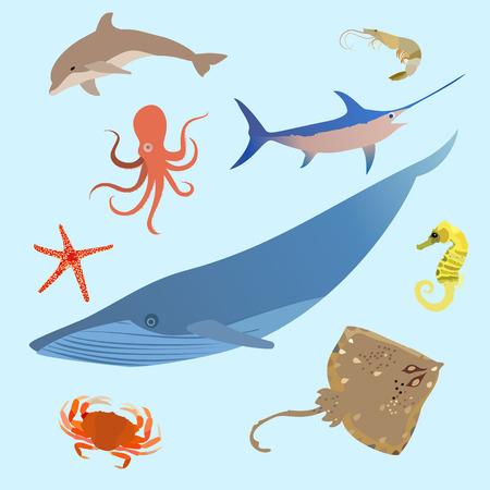 Cute ocean animals simple creatures. Octopus, shark sea cartoon fish. Vector eps10 Illustration