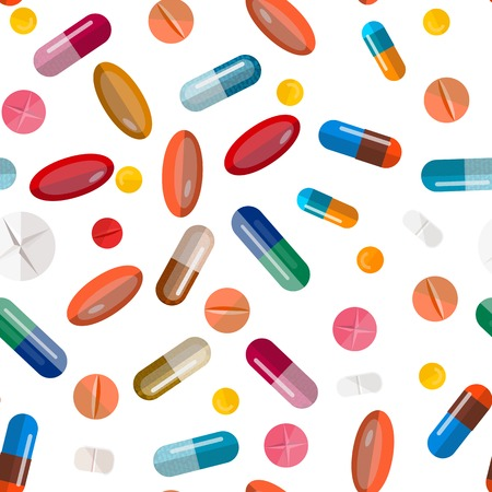 Collection of pills and capsules. Seamless colorful medication. Vector eps10