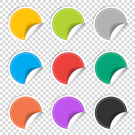 Colorful nine transparent blank stickers set. Badge collection in red, blue, green, grey, black, yellow, orange and violet colors. Vector illustration EPS10