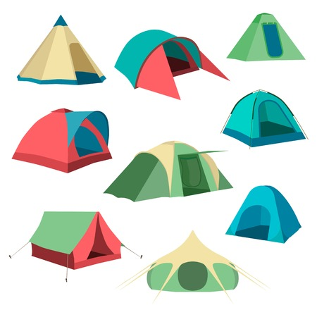 Set of tourist tents. Collection of camping tent icons.  Vector illustration eps10