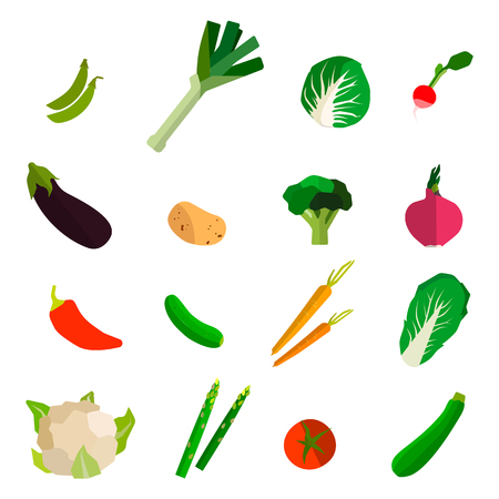 kale: Colorful fruits and vegetables set on white background. Vector eps10