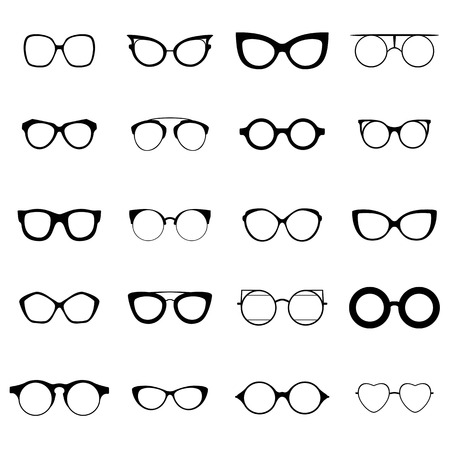cat's eye glasses: Collection of various glasses. To be worn by women, men and children. Eye glasses set. Graphic illustration Stock Photo