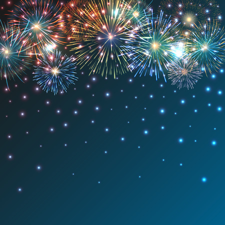 Festive brightly colorful fireworks bursting on blue twilight. Vector background