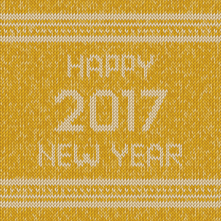 Christmas yellow knitted sweater design pattern. Happy New Year 2017 text. Vector illustration