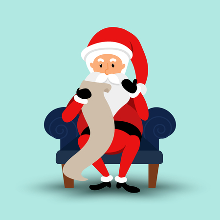 Cartoon Santa Claus sitting on a chair and read a long letter. Vector illustration