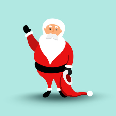 Cartoon Santa Claus Merry Christmas and Happy New Year. Vector illustration eps10 Illustration