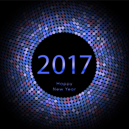 Happy New Year 2017 background. Blue greeting card. Vector illustration Illustration