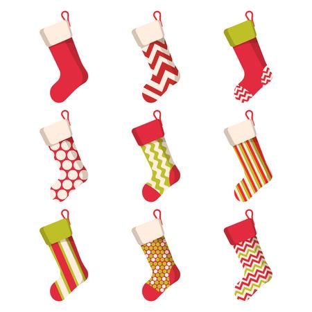 Boże Narodzenie pończocha zestaw na białym tle. Zimowe skarpety świąteczne na prezenty. Kreskówka skarpety ozdobione prezentem. Wektor