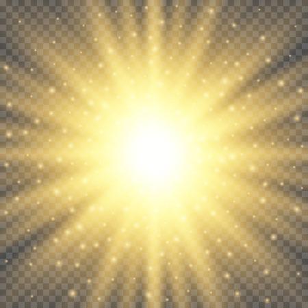 La luce del cerchio d'ardore dell'oro scoppia l'esplosione su fondo trasparente. Decorazione con brillanti bagliori di raggio. Texture lucentezza sfumata trasparente lucentezza. Effetto luci illustrazione vettoriale