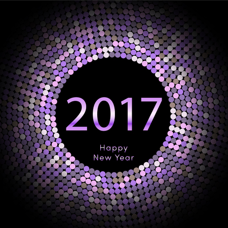 Happy New Year 2017 background. Gold greeting card. Vector illustration