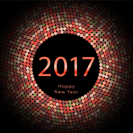 Happy New Year 2017 background. Calendar decoration colorful element. Greeting red card. Template for your design. Vector illustration