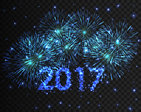 happy new year 2017 blue firework background greeting card with particle vector illustration stock