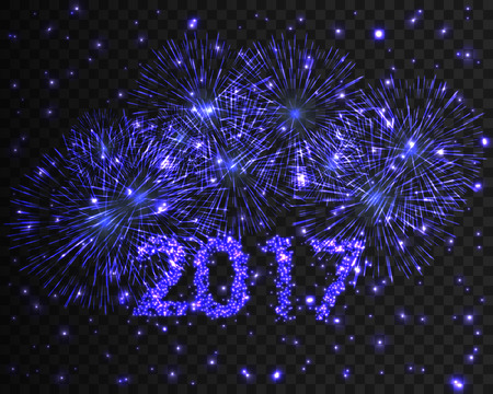 Happy New Year 2017 blue firework background. Greeting card with particle. Vector illustration Illustration