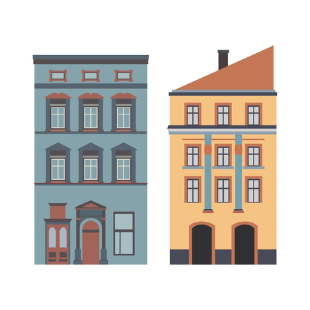 townhouses: Beautiful detailed cartoon cityscape collection with townhouses. Small town street with victorian building facades. Template for web, graphic, game and motion design. Vector illustration Illustration