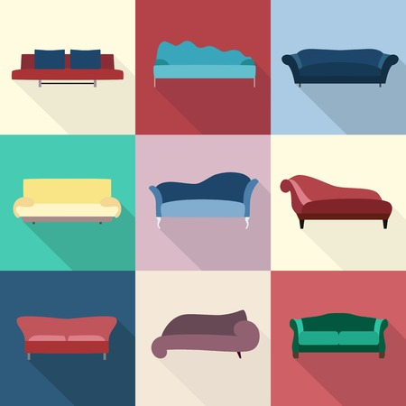 couches: Modern luxury flat sofas and couches furniture icons set for living room Vector illustration