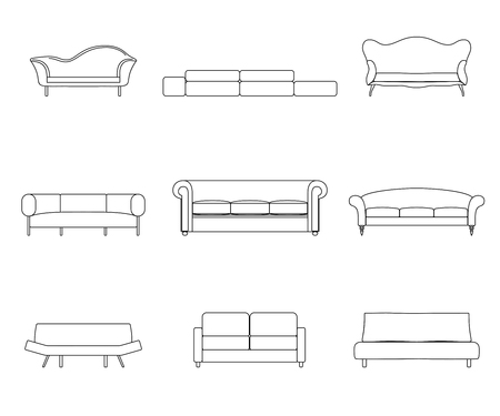 couches: Modern luxury flat sofas and couches furniture icons set for living room. Vector illustration Illustration