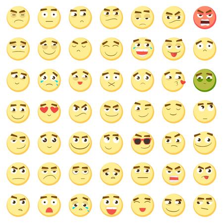 Yellow Big Emoticon Set Collection Of Emoji 3d Emoticons Smiley