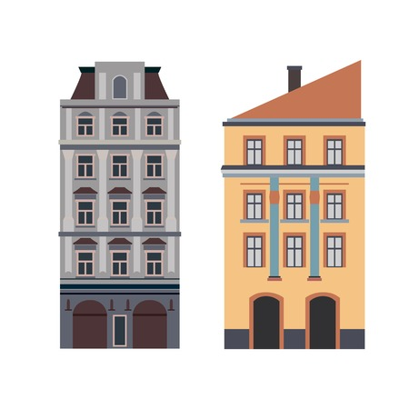 townhouses: Beautiful detailed cityscape collection with townhouses. Small town street with victorian building facades. Template for web, graphic, game and motion design. Vector illustration