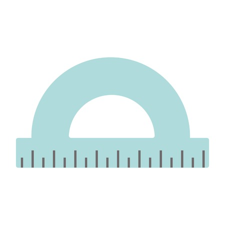 millimeters: Flat protractor icon on white background. Vector app