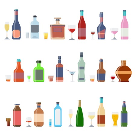 Alcohol bottles beverages with glasses. Alcohol whiskey cocktail bottle container set. Drink menu concept different beverages glasses. Vector illustration icons Illustration