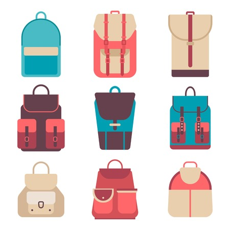 back view student: School backpack in flat style. Bag icons kids backpack on a isolated background. Set youth backpacks. Child backpack, travel hiking, tourism and luggage. Vector illustration collections. Illustration