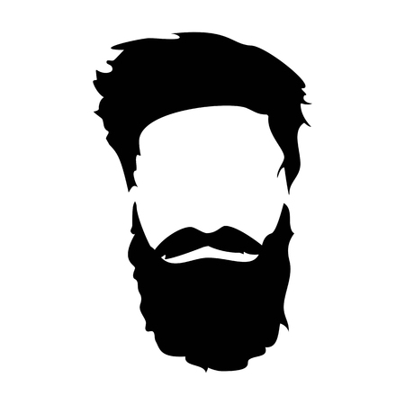 Hipster détaillé chapeau et la barbe. homme barbu Mode silhouette. barbe noire isolé sur fond blanc. Vector illustration Banque d'images - 68360195