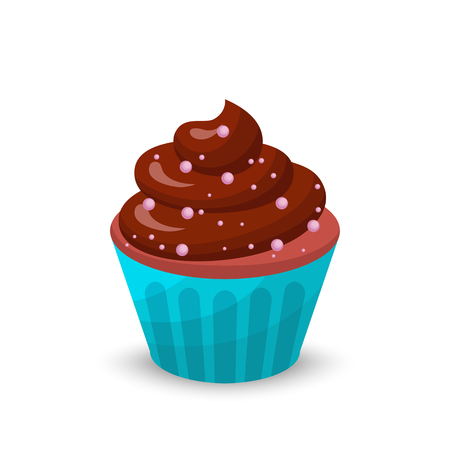 Sweet food chocolate cake. Creamy cupcake set isolated on white. Bakery cupcake with cherry. Vector illustration candy concept Illustration
