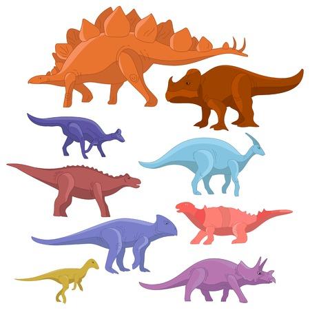 Different type of cartoon dinosaurs cute monster set. Dinosaur cartoon collection prehistoric character tyrannosaurus funny animal. Vector art Illustration