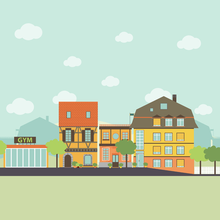 Vie dans une petite ville urbaine éléments infographiques. Appartement style design. Vector illustration. Vecteurs