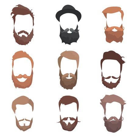 man long hair: Hair and beards detailed set. Fashion bearded man silhouette. Long beard with facial hair. Black beard isolated on white background. Vector illustration Illustration
