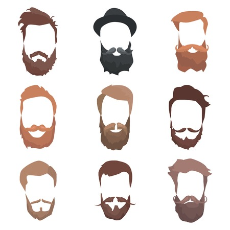 Hair and beards detailed set. Fashion bearded man silhouette. Long beard with facial hair. Black beard isolated on white background. Vector illustration Illustration