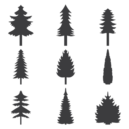 alder: Set of abstract stylized balack trees silhouette. Vector illustration.