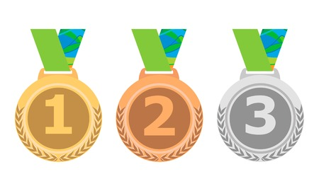 bronze medal: Gold Silver and Bronze medal icon set. Vector isolated medals on white background