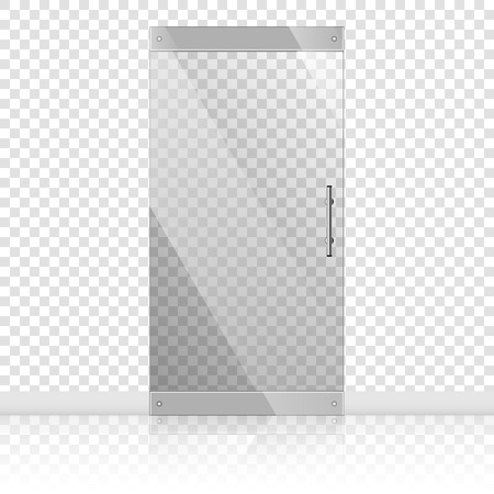 Glass doors with silver handles set