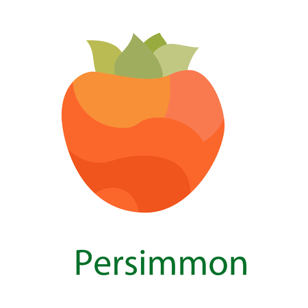 tacky: Persimmon fruit logo, sweet food icon isolated on white background. Vector Illustration