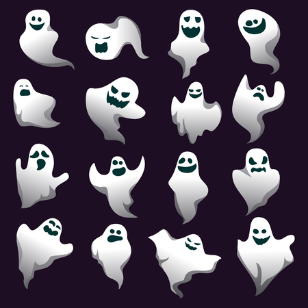 Cartoon spooky ghost character collection. Spooky and scary holiday monster design set. White costume evil silhouette ghost character on black background. Vector Vektorové ilustrace