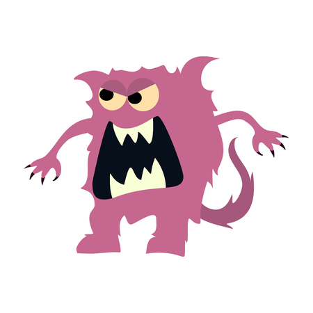 Cartoon flat monsters big icon. Colorful kid toy cute monster. Vector Illustration