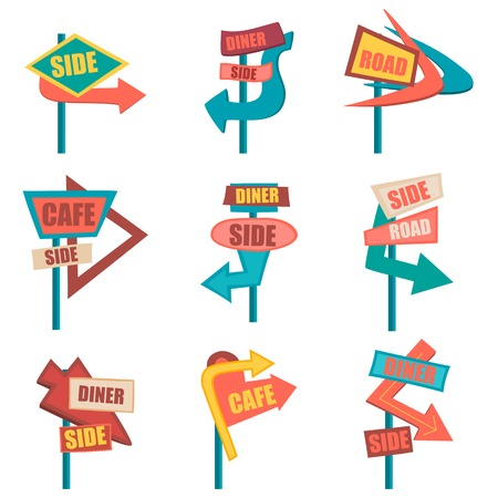 Retro road signs. Vintage billboard set. Vector illustration