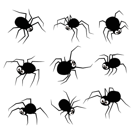 Black silhouette spider icons set isolated on white background. Vector