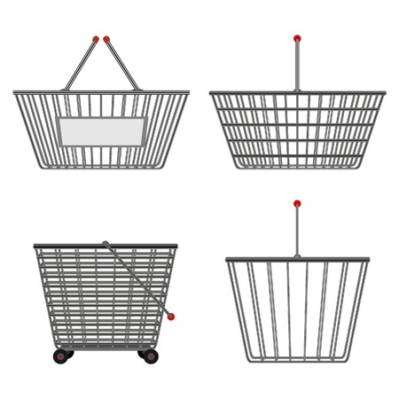 simple store: Four realistic metallic chrome wire empty baskets of different shapes.  illustration