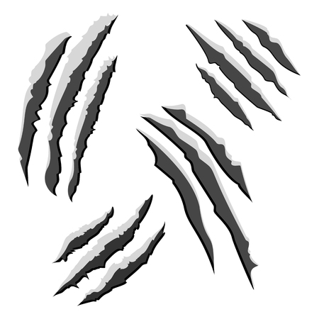 laceration: Set of black claw scratches isolated on white background.  illustration Stock Photo