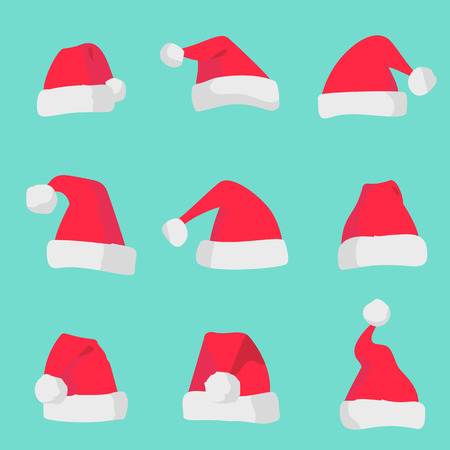 Red Santa Claus hats isolated on colorful background. Symbol of Christmas holiday santa hat set. Stock Photo