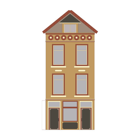 Beautiful detailed linear cityscape collection with townhouses. Small town street with victorian building facades. Template for web, graphic, game and motion design. Vector illustration Ilustrace